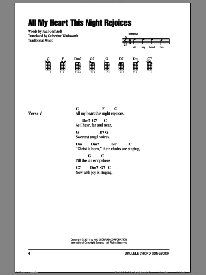 All My Heart This Night Rejoices sheet music for ukulele (chords) by Paul Gerhardt and Catherine Winkworth, Christmas carol score, intermediate ukulele (chords). Score Image Preview.