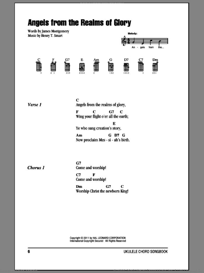 Angels From The Realms Of Glory sheet music for ukulele (chords) by James Montgomery and Henry T. Smart, intermediate