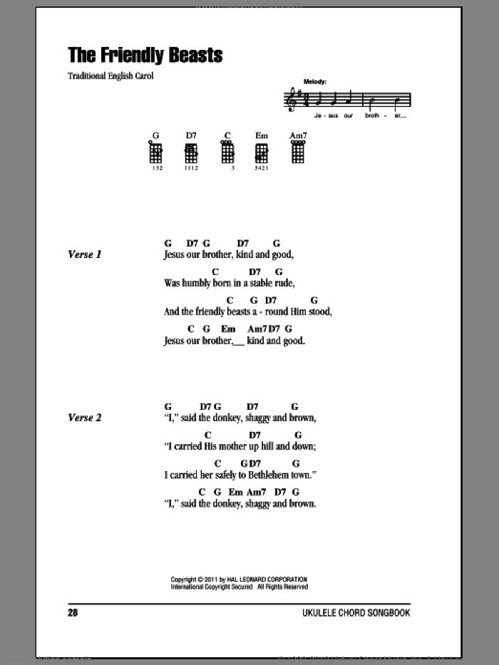 The Friendly Beasts sheet music for ukulele (chords), intermediate skill level