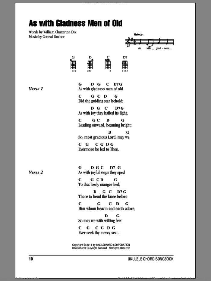 As With Gladness Men Of Old sheet music for ukulele (chords) by William Chatterton Dix and Conrad Kocher, intermediate. Score Image Preview.