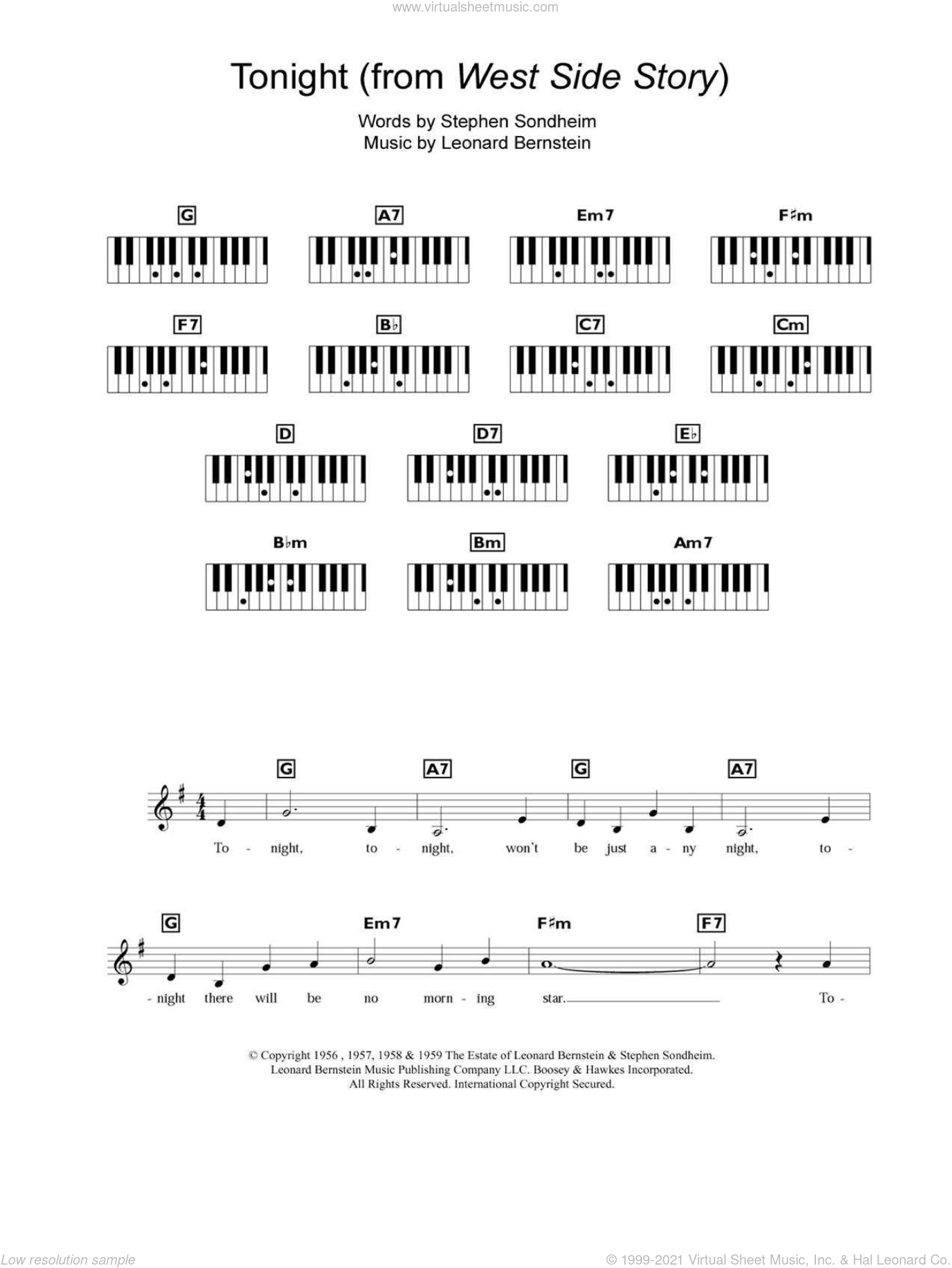 Tonight sheet music for piano solo (chords, lyrics, melody) by Leonard Bernstein, West Side Story (Musical) and Stephen Sondheim, intermediate piano (chords, lyrics, melody)