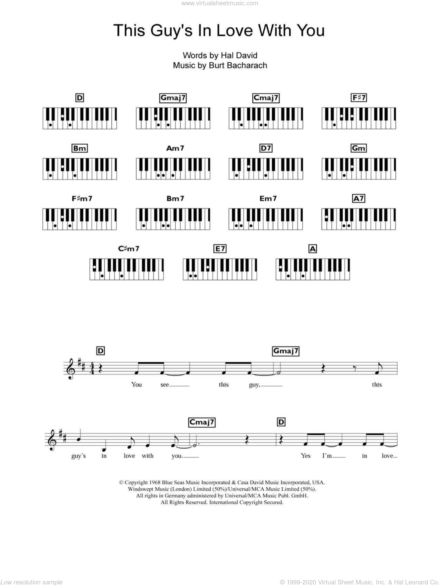 This Guy's In Love With You sheet music for piano solo (chords, lyrics, melody) by Herb Alpert & The Tijuana Brass, Bacharach & David, Burt Bacharach and Hal David, intermediate piano (chords, lyrics, melody)