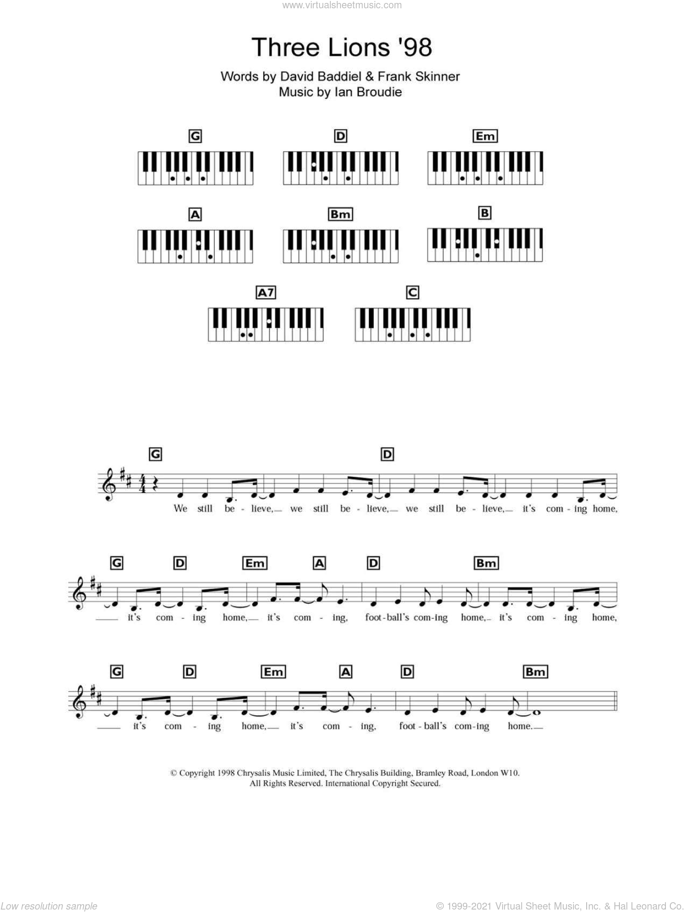 Three Lions '98 (England's World Cup '98 Theme) sheet music for piano solo (chords, lyrics, melody) by Ian Broudie