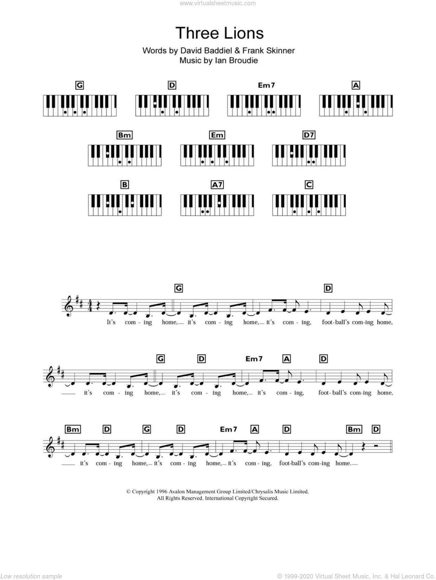 Three Lions sheet music for piano solo (chords, lyrics, melody) by Ian Broudie and The Lightning Seeds. Score Image Preview.