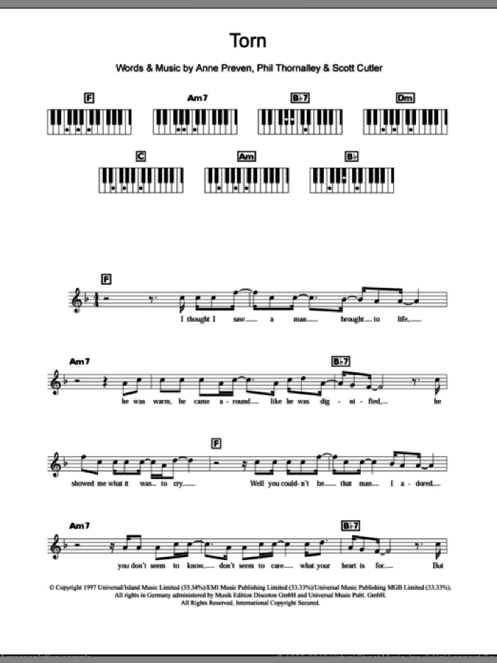 Torn sheet music for piano solo (chords, lyrics, melody) by Natalie Imbruglia, Anne Preven, Phil Thornalley and Scott Cutler, intermediate piano (chords, lyrics, melody)