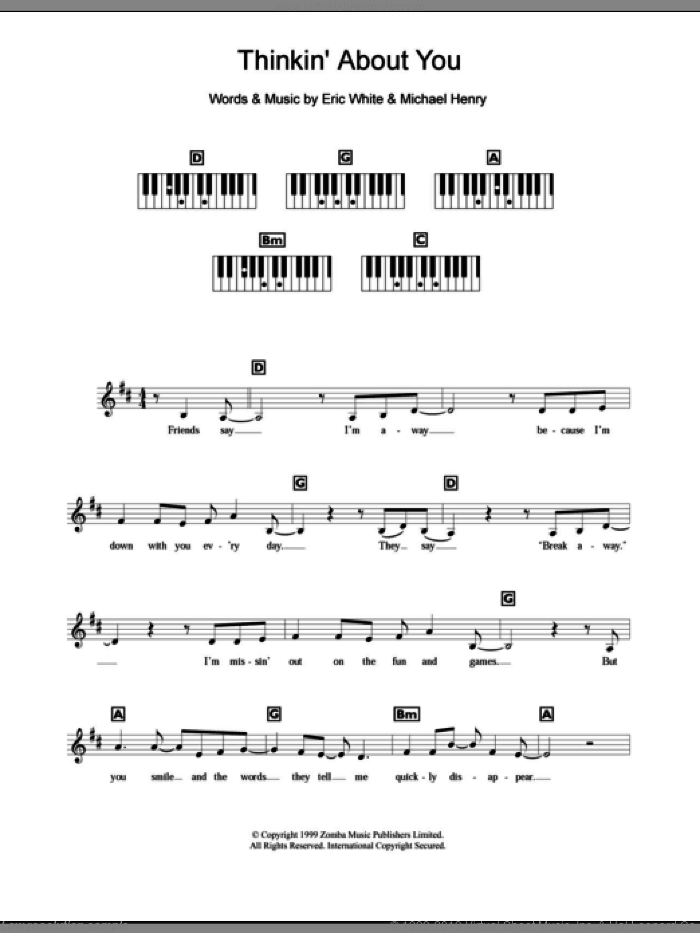 Thinkin' About You sheet music for piano solo (chords, lyrics, melody) by Britney Spears, Eric White and Michael Henry, intermediate piano (chords, lyrics, melody)