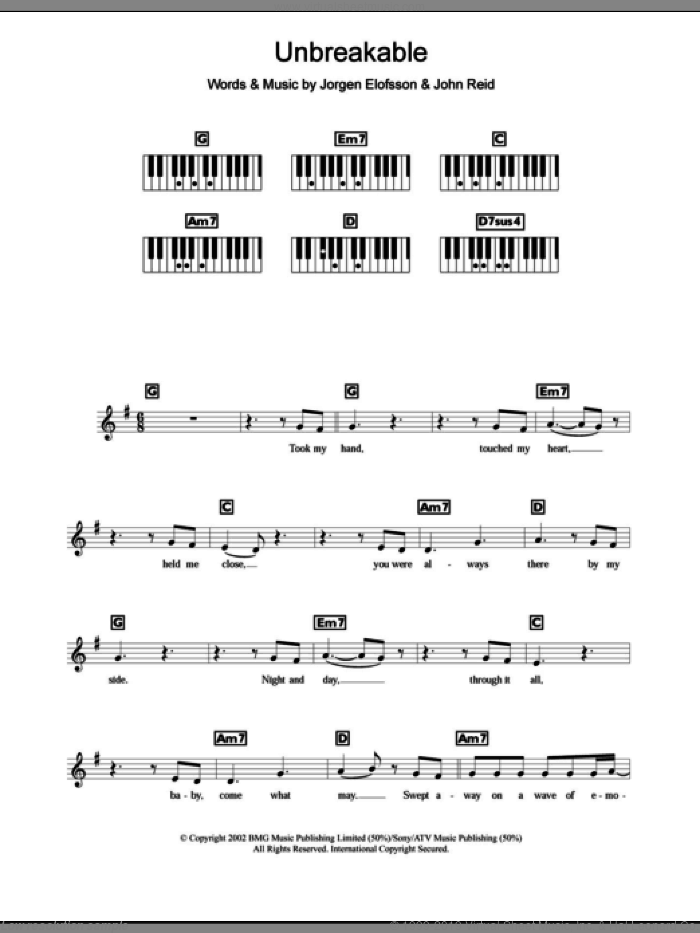 Unbreakable sheet music for piano solo (chords, lyrics, melody) by Jorgen Elofsson, Westlife and John Reid