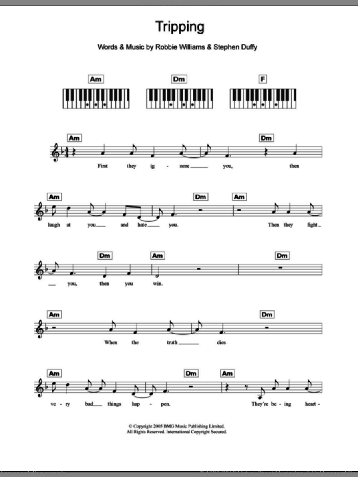 Tripping sheet music for piano solo (chords, lyrics, melody) by Stephen Duffy and Robbie Williams. Score Image Preview.