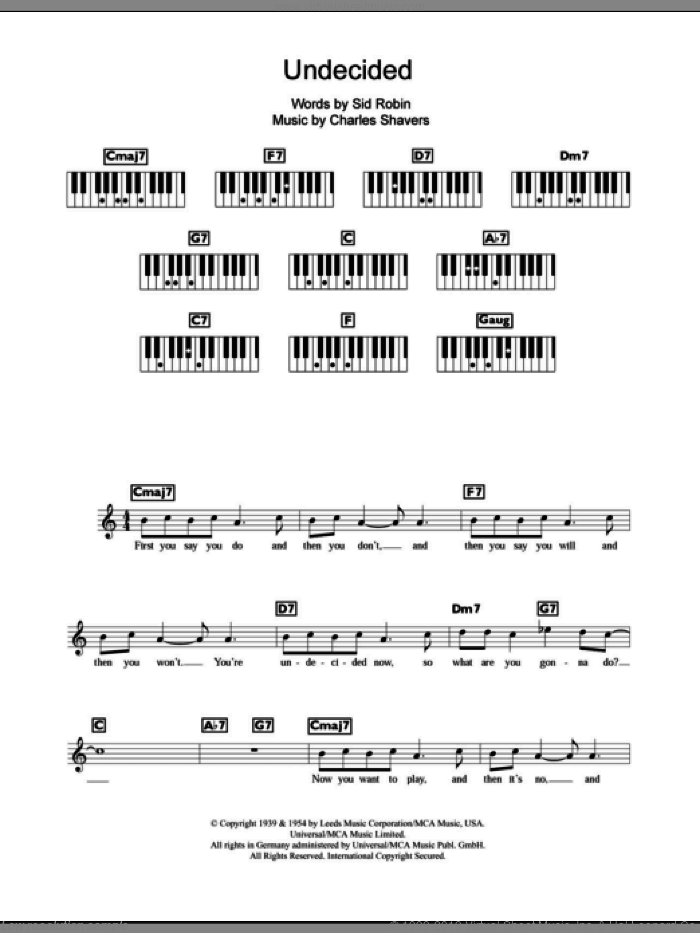 Undecided sheet music for piano solo (chords, lyrics, melody) by Ella Fitzgerald. Score Image Preview.