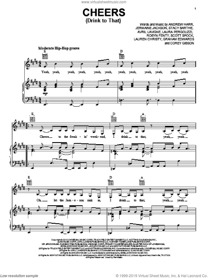 Cheers (Drink To That) sheet music for voice, piano or guitar by Stacy Barthe, Rihanna, Andrew Harr, Avril Lavigne, Graham Edwards, Jermaine Jackson, Laura Pergolizzi, Lauren Christy, Robyn Fenty and Scott Spock