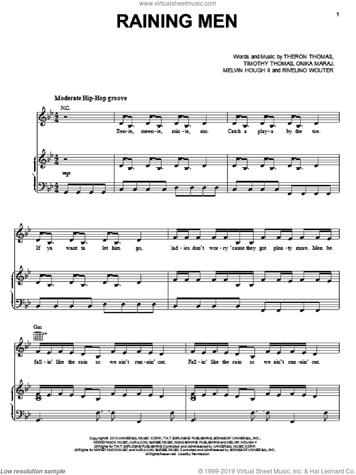 Raining Men sheet music for voice, piano or guitar by Timmy Thomas, Rihanna and Onika Maraj. Score Image Preview.