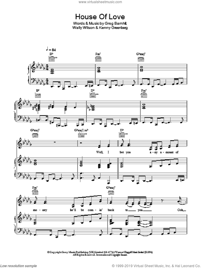 House Of Love sheet music for voice, piano or guitar by Amy Grant with Vince Gill, Greg Barnhill, Kenny Greenberg and Wally Wilson, intermediate skill level