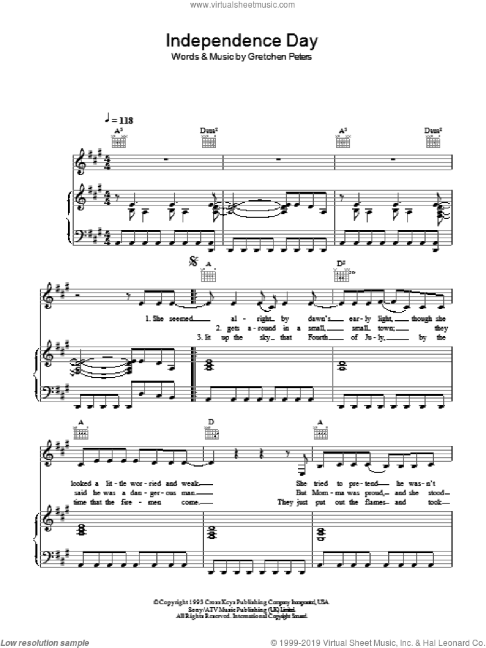 Independence Day sheet music for voice, piano or guitar by Martina McBride and Gretchen Peters, intermediate voice, piano or guitar. Score Image Preview.