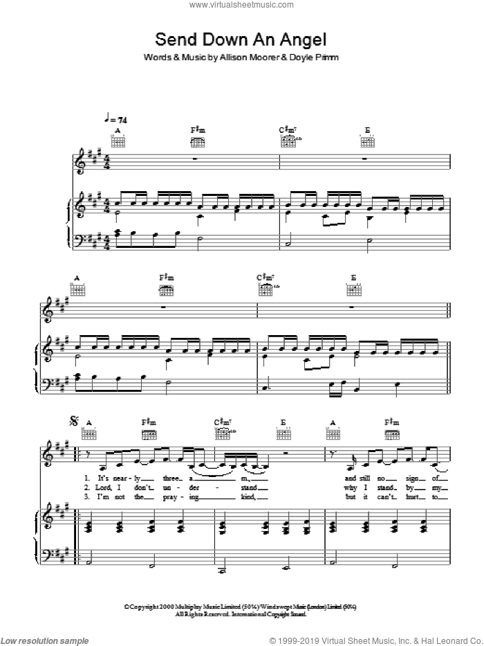 Send Down An Angel sheet music for voice, piano or guitar by Allison Moorer and Doyle Primm, intermediate skill level