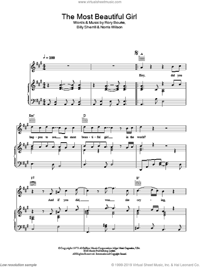 The Most Beautiful Girl sheet music for voice, piano or guitar by Charlie Rich, Billy Sherrill, Norris Wilson and Rory Bourke, intermediate. Score Image Preview.