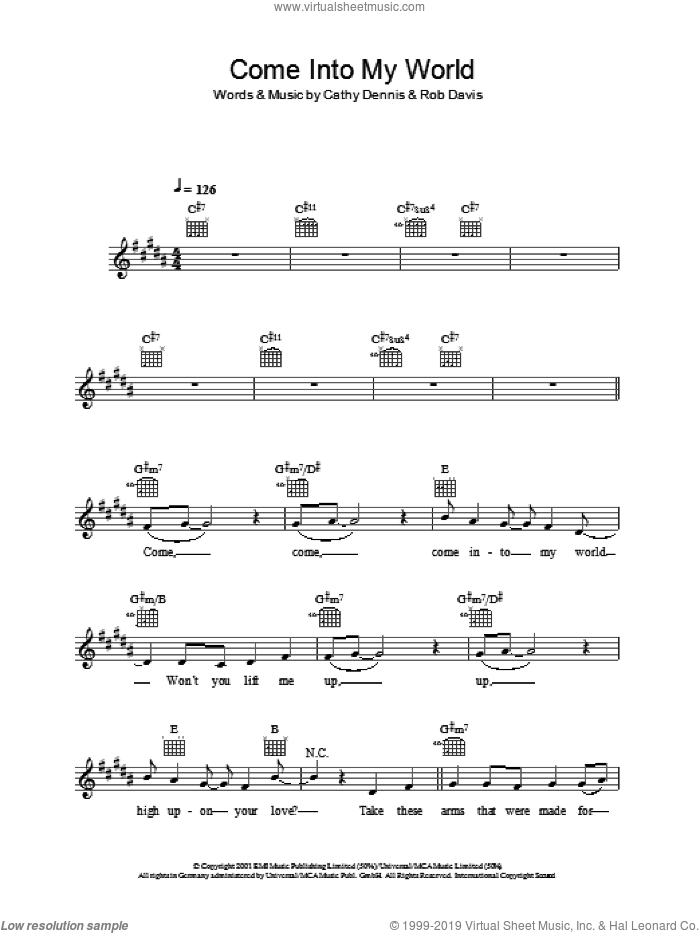 Come Into My World sheet music for voice and other instruments (fake book) by Rob Davis, Kylie Minogue and Cathy Dennis. Score Image Preview.