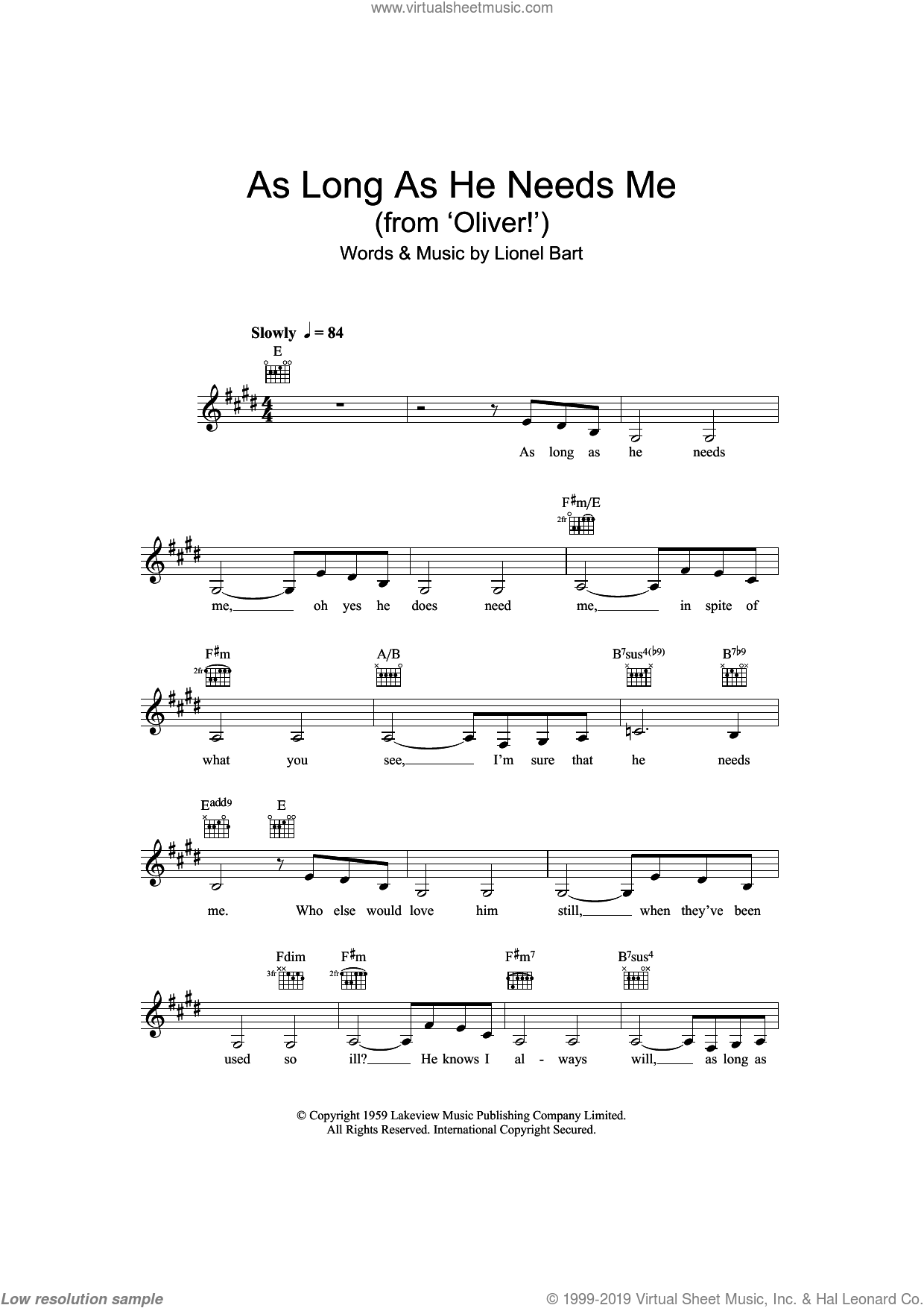As Long As He Needs Me (from Oliver!) sheet music for voice and other instruments (fake book) by Lionel Bart, Oliver! and Oliver! (Musical), intermediate skill level