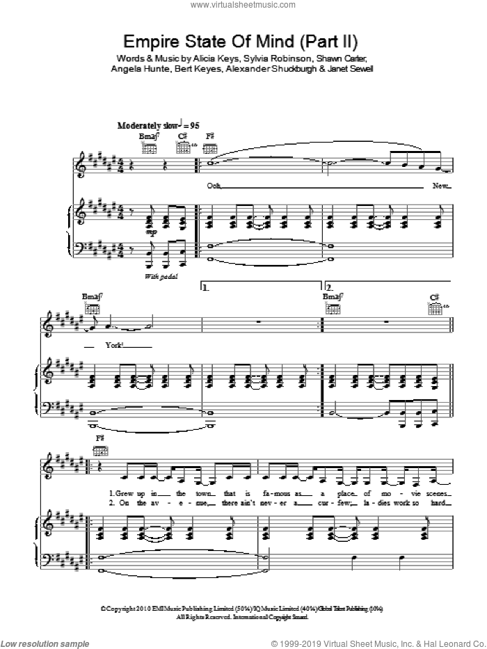 Empire State Of Mind (Part II) Broken Down sheet music for voice, piano or guitar by Sylvia Robinson, Al Shuckburgh, Alicia Keys and Shawn Carter. Score Image Preview.