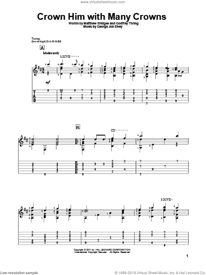 Crown Him With Many Crowns sheet music for guitar solo by Matthew Bridges, George Job Elvey and Godfrey Thring, intermediate skill level