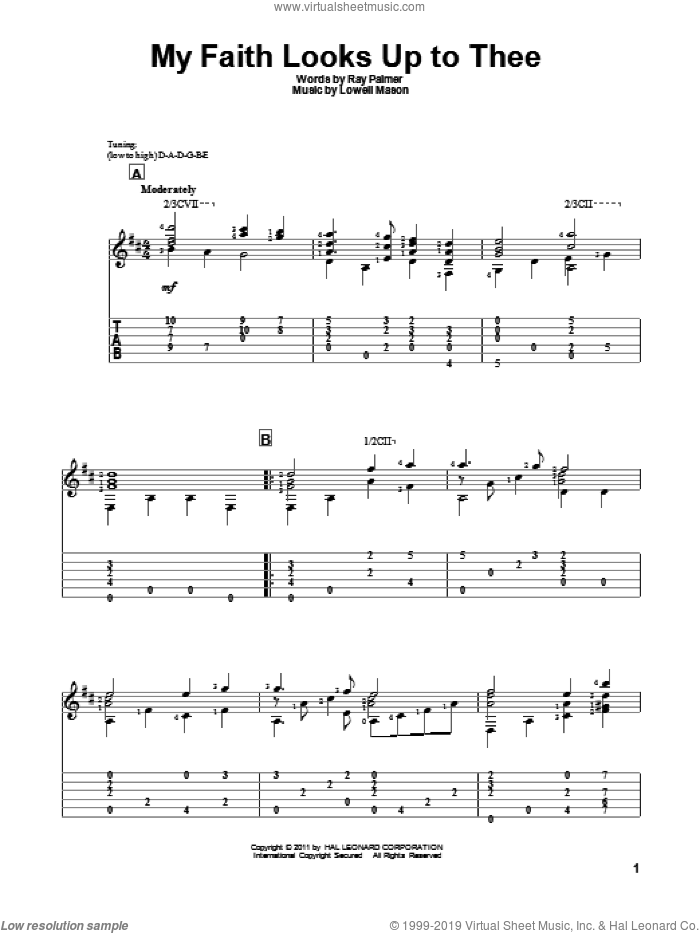 My Faith Looks Up To Thee sheet music for guitar solo by Ray Palmer and Lowell Mason. Score Image Preview.
