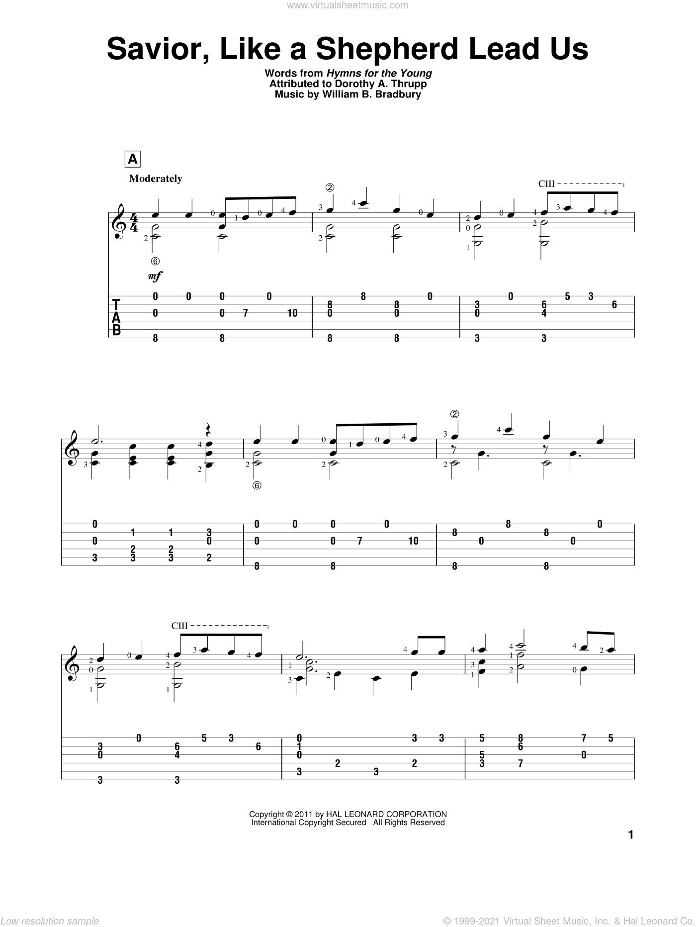 Savior, Like A Shepherd Lead Us sheet music for guitar solo by Dorothy A. Thrupp and William B. Bradbury. Score Image Preview.