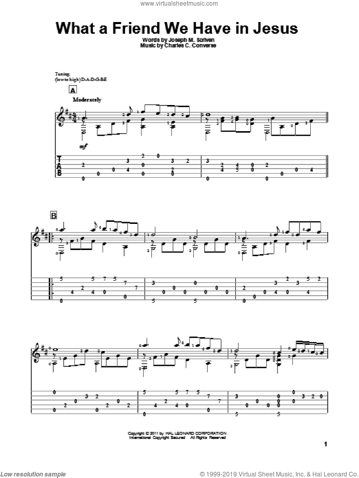 What A Friend We Have In Jesus sheet music for guitar solo by Joseph M. Scriven and Charles C. Converse, intermediate guitar. Score Image Preview.