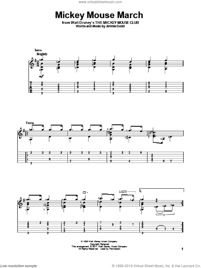 Mickey Mouse March sheet music for guitar solo by Jimmie Dodd. Score Image Preview.