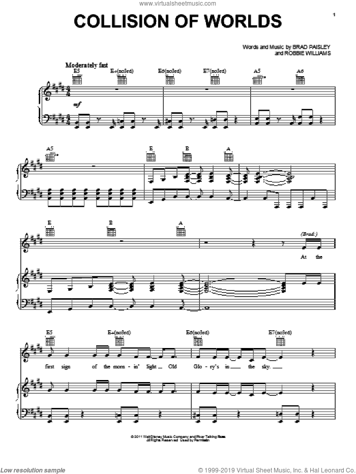 Collision Of Worlds sheet music for voice, piano or guitar by Brad Paisley and Robbie Williams, Cars 2 (Movie), Brad Paisley, Michael Giacchino and Robbie Williams, intermediate skill level