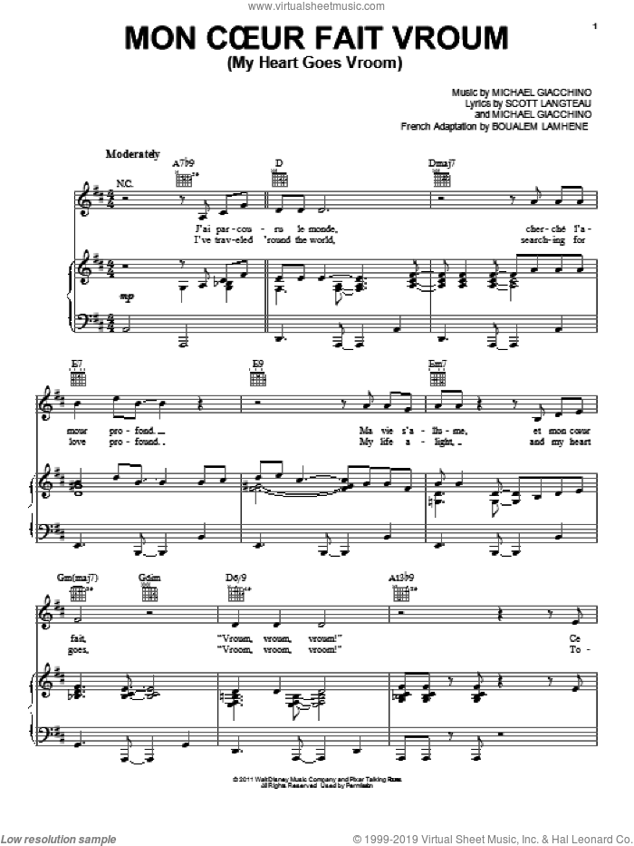 Mon Coeur Fait Vroum (My Heart Goes Vroom) sheet music for voice, piano or guitar by Scott Langteau
