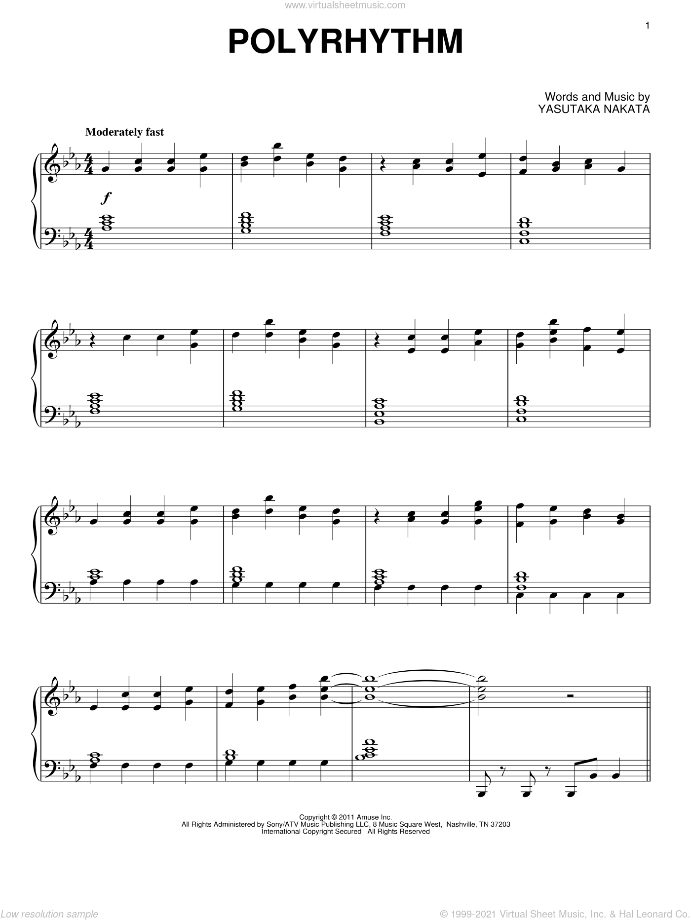 Polyrhythm sheet music for piano solo by Yasutaka Nakata and Michael Giacchino. Score Image Preview.