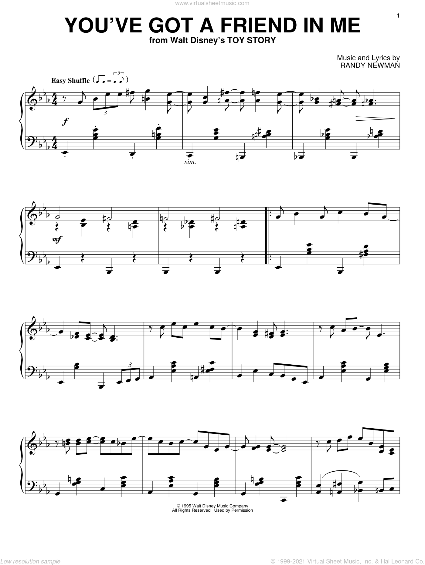 You've Got A Friend In Me (from Toy Story) sheet music for piano solo by Randy Newman and Toy Story (Movie), intermediate skill level