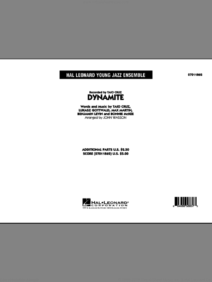 Dynamite (COMPLETE) sheet music for jazz band by Max Martin, Benjamin Levin, Bonnie McKee, John Wasson, Lukasz Gottwald and Taio Cruz, intermediate skill level