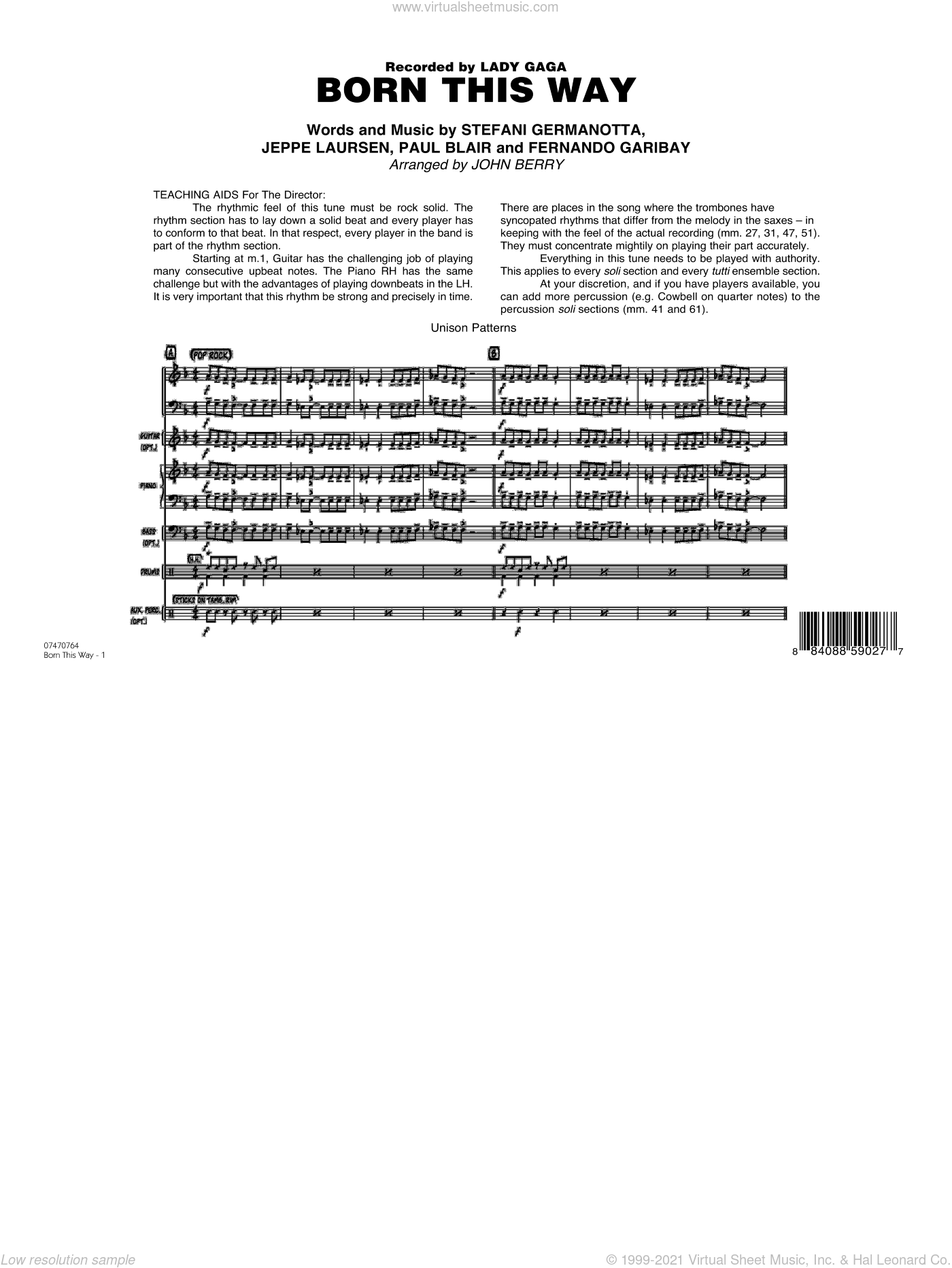 Born This Way sheet music for jazz band (full score) by Lady Gaga