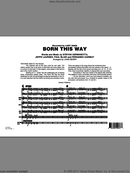 Born This Way (COMPLETE) sheet music for jazz band by Lady Gaga