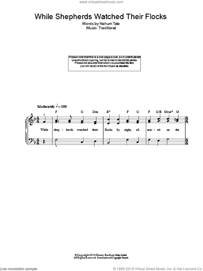 While Shepherds Watched Their Flocks sheet music for voice, piano or guitar by Nahum Tate and Miscellaneous. Score Image Preview.