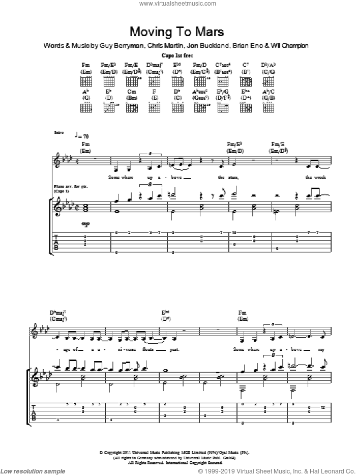 Moving To Mars sheet music for guitar (tablature) by Coldplay, Brian Eno, Chris Martin, Guy Berryman, Jon Buckland and Will Champion, intermediate skill level