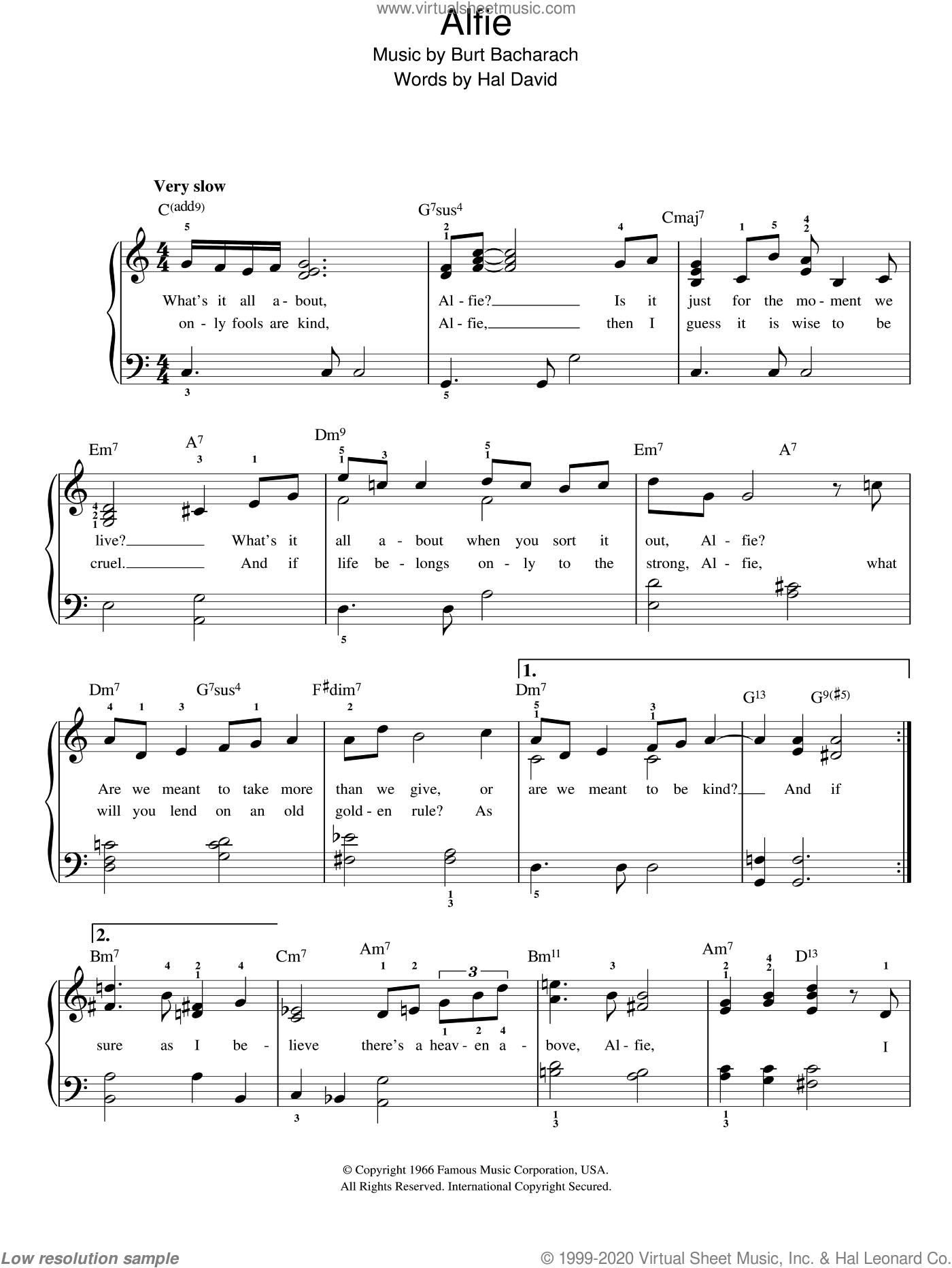 Alfie sheet music for piano solo by Bacharach & David, Burt Bacharach and Hal David, easy skill level