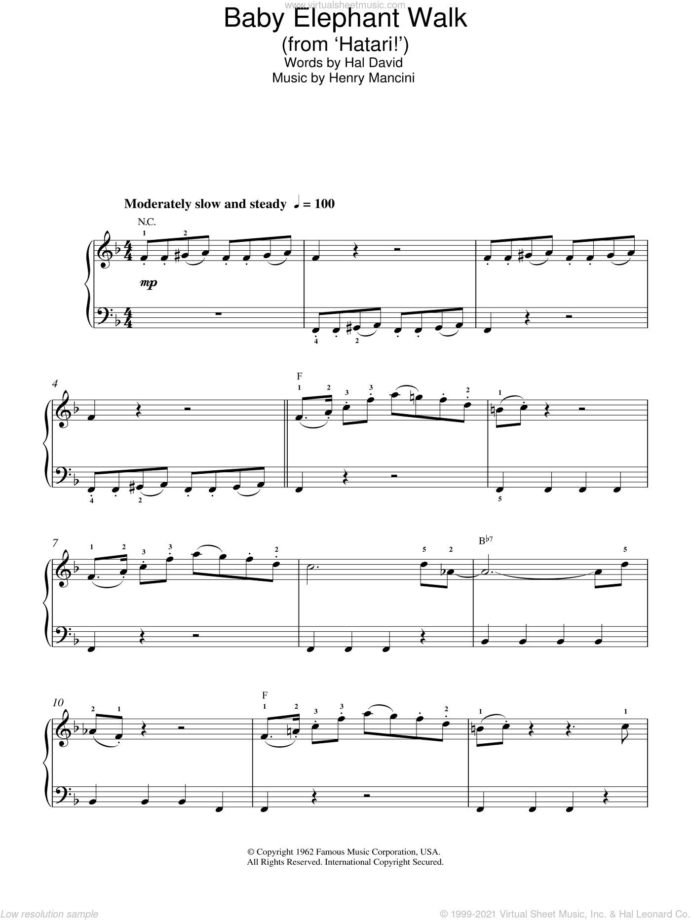 Baby Elephant Walk sheet music for piano solo by Henry Mancini. Score Image Preview.