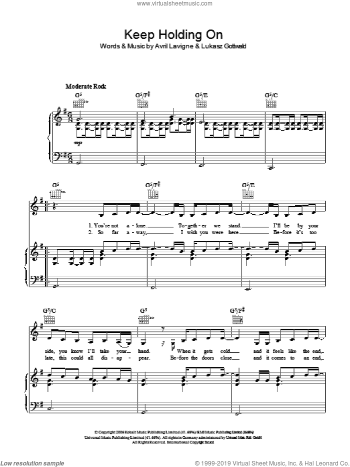 Keep Holding On sheet music for voice, piano or guitar by Avril Lavigne and Lukasz Gottwald, intermediate skill level