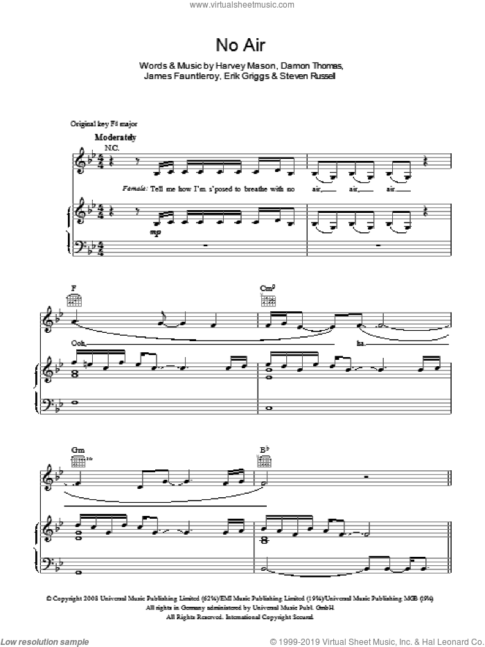 No Air sheet music for voice, piano or guitar by Steven Russell, Chris Brown, Glee Cast, Jordin Sparks, Miscellaneous, Damon Thomas, Harvey Mason and James Fauntleroy. Score Image Preview.