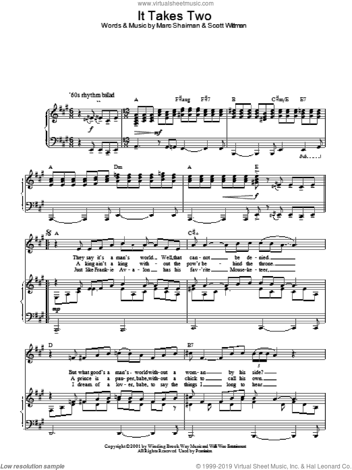 It Takes Two sheet music for voice, piano or guitar by Scott Wittman