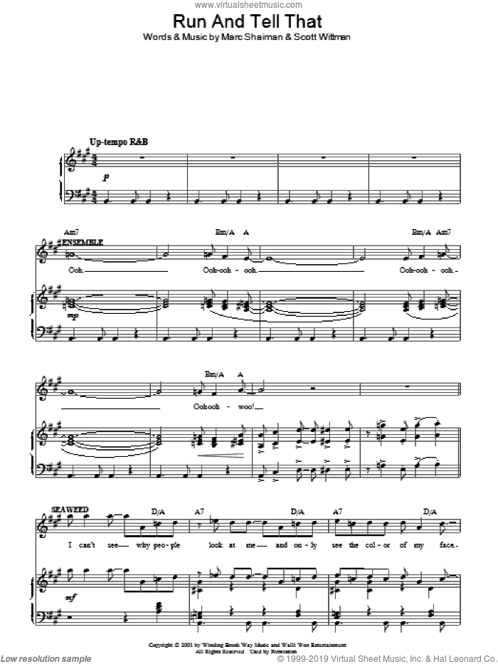 Run And Tell That sheet music for voice, piano or guitar by Scott Wittman and Marc Shaiman. Score Image Preview.