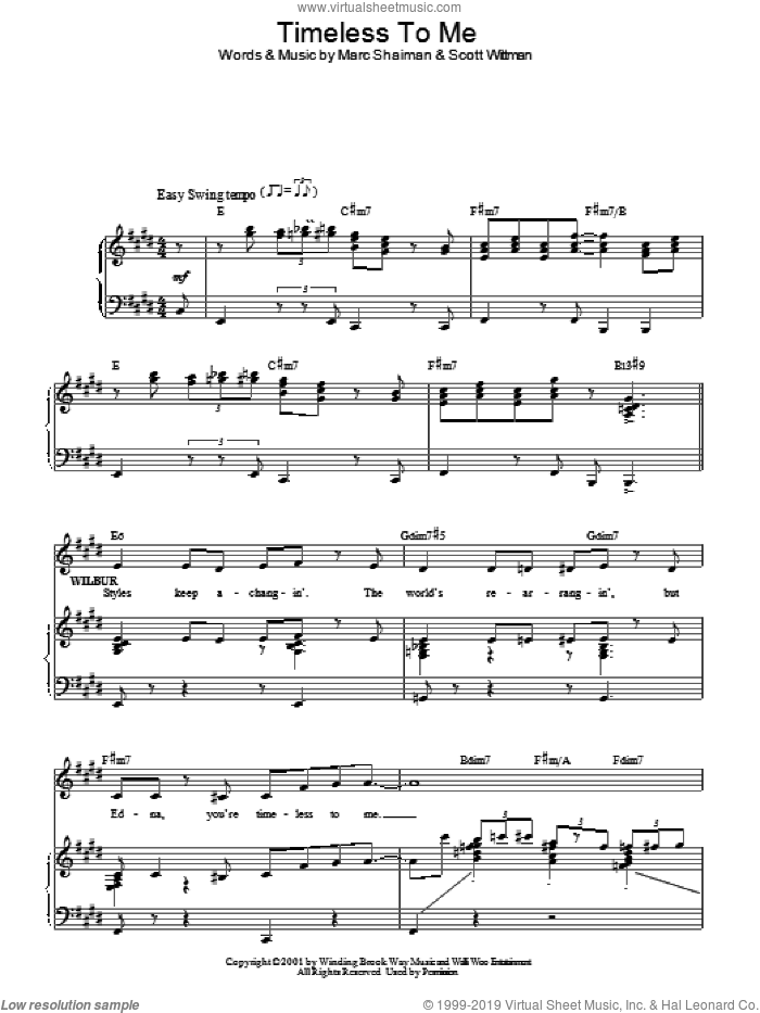 Timeless To Me sheet music for voice, piano or guitar by Marc Shaiman, Hairspray (Musical) and Scott Wittman, intermediate. Score Image Preview.
