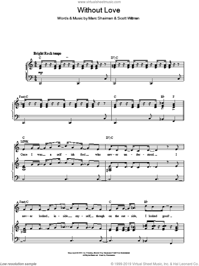 Without Love sheet music for voice, piano or guitar by Scott Wittman