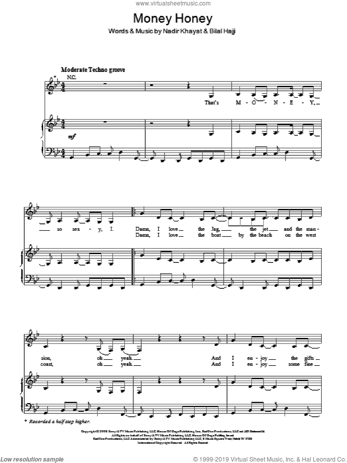Money Honey sheet music for voice, piano or guitar by Nadir Khayat
