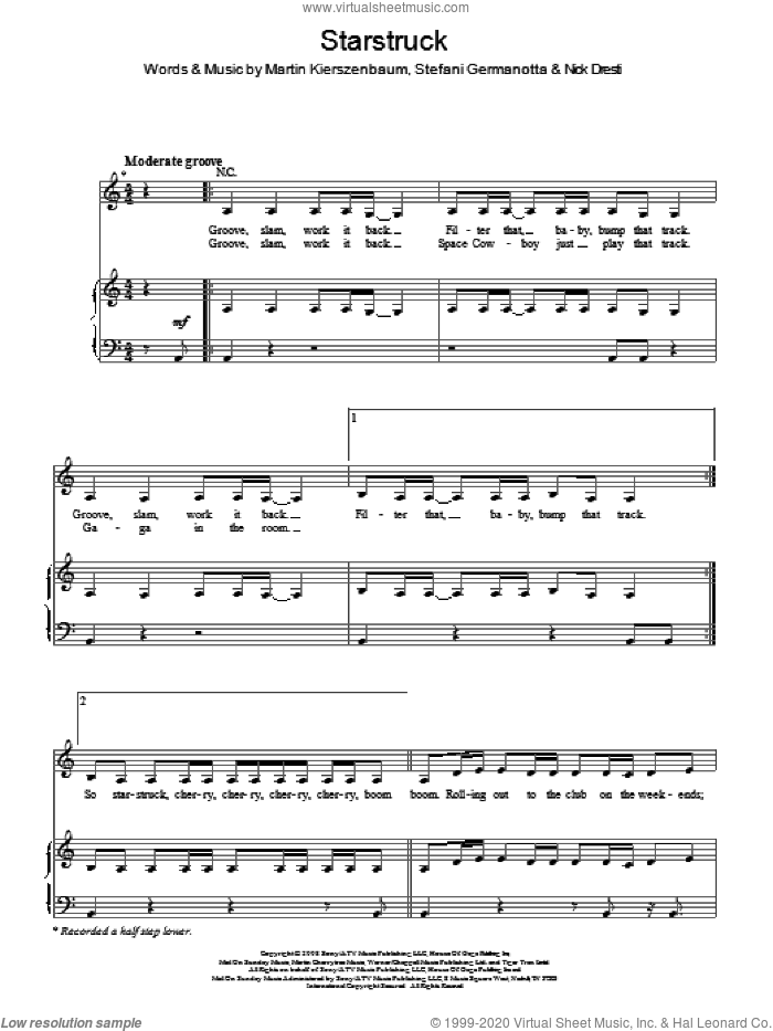 Starstruck sheet music for voice, piano or guitar by Lady Gaga