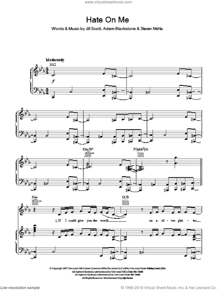 Hate On Me sheet music for voice, piano or guitar by Steven McKie