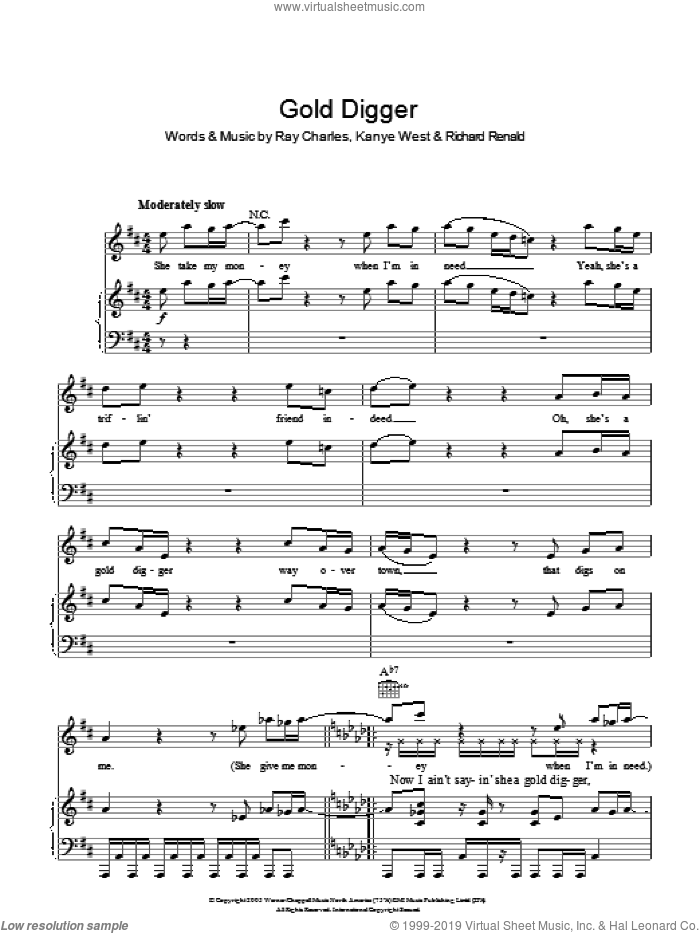 Gold Digger sheet music for voice, piano or guitar by Kanye West, Ray Charles and Renald J. Richard, intermediate skill level