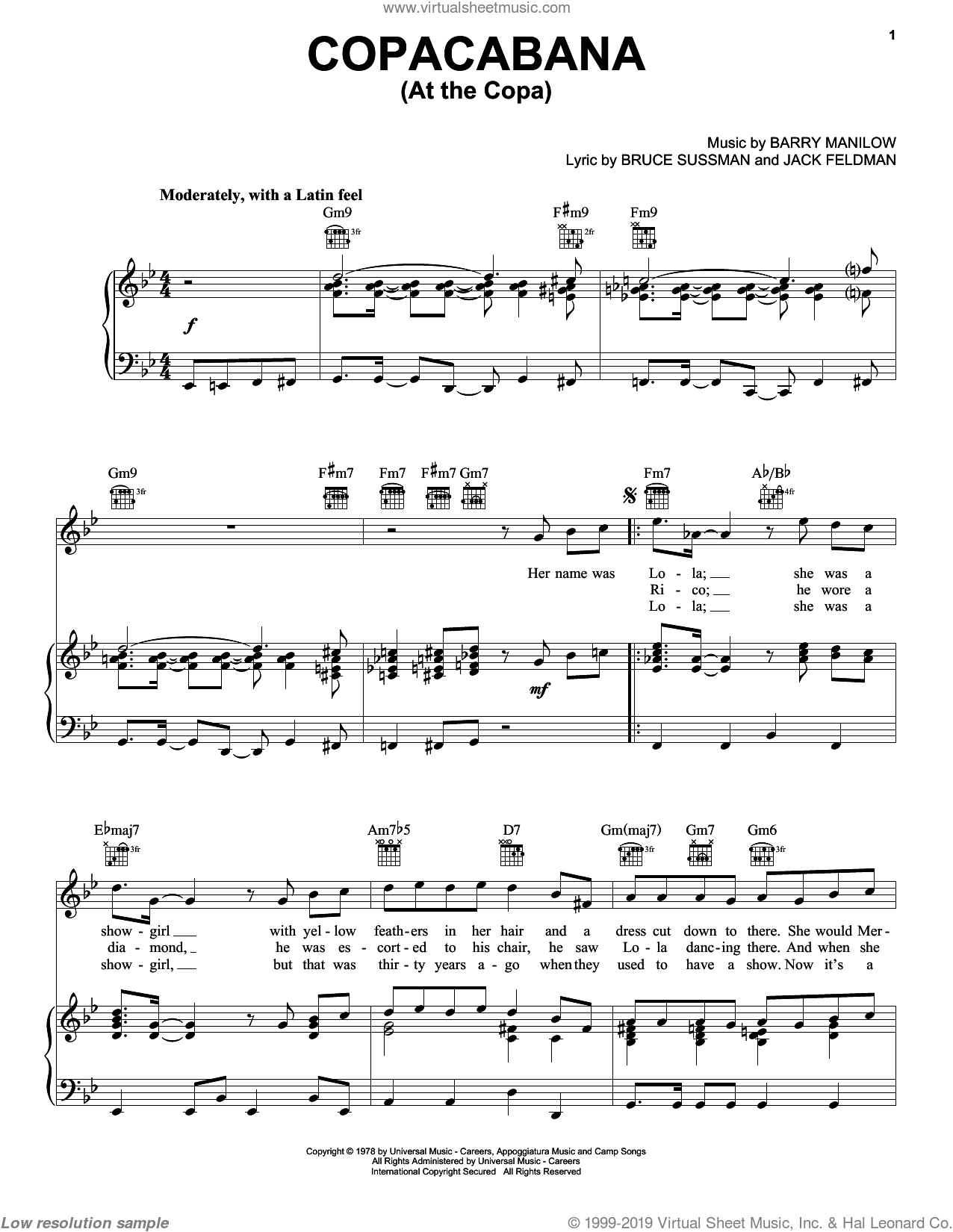 Copacabana (At The Copa) sheet music for voice, piano or guitar by Barry Manilow, Bruce Sussman and Jack Feldman, intermediate skill level