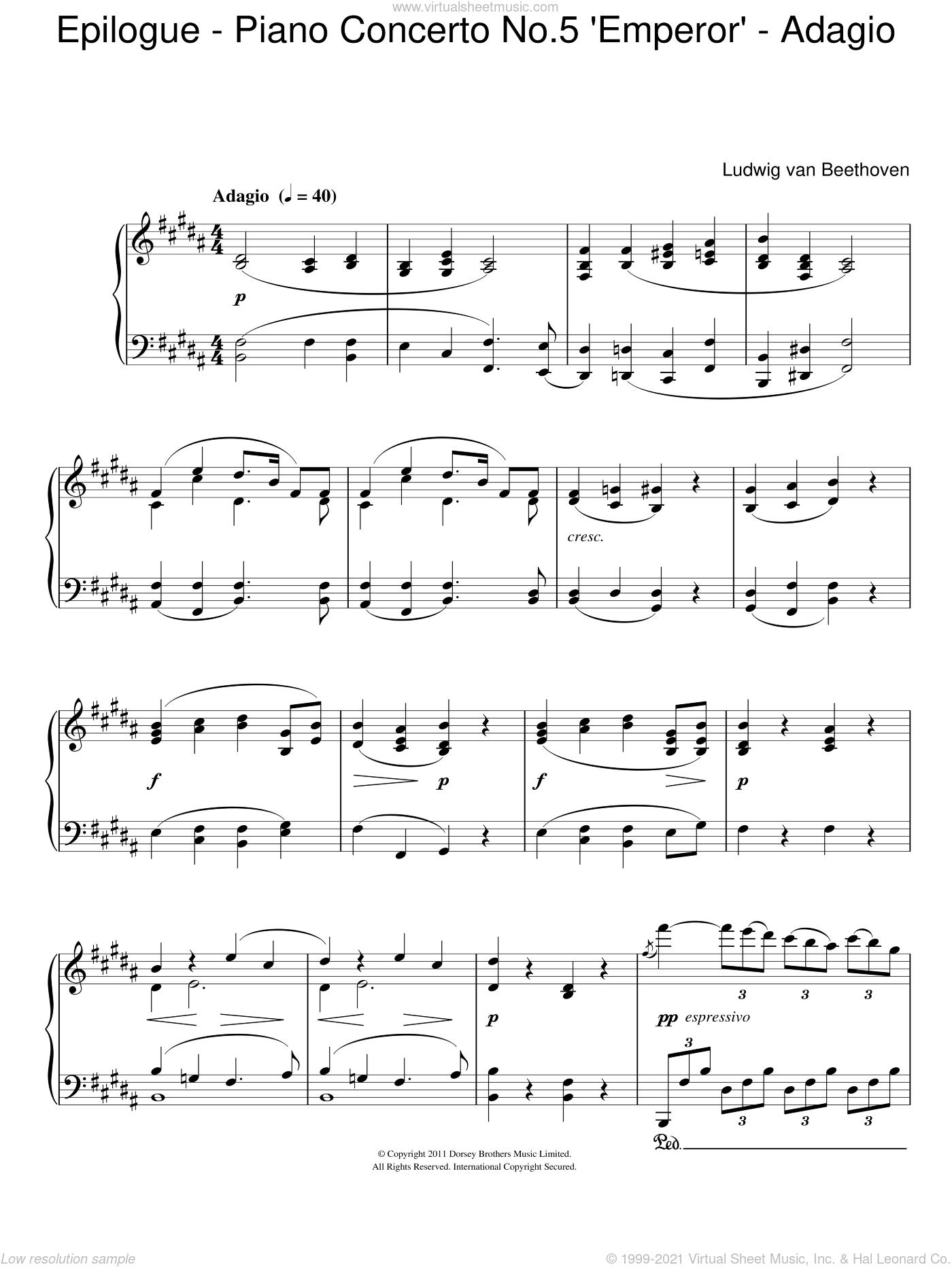 Epilogue (Piano Concerto No.5 'Emperor' - Adagio) sheet music for piano solo by Ludwig van Beethoven, classical score, intermediate skill level